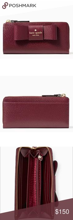 """Kate Spade Matthew Street Nisha Wallet Mulled Wine For stashing your pennies, your credit cards, your ids, your secret love notes...  Brand New with Tags - Factory packaging, tags, and tissue all are included.   Product Details: - 3.6""""h x 7.5""""w - Boarskin embossed leather w/ matching trim - Capital kate jacquard lining - Zip around continental wallet - 8 credit card slots; 3 billfolds; interior zip pocket; exterior slide pocket - Gold Staple Kate Spade New York Signature - style # WLRU2638…"""