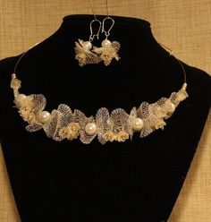 Silver mesh and Glass pearl necklace and earrings set