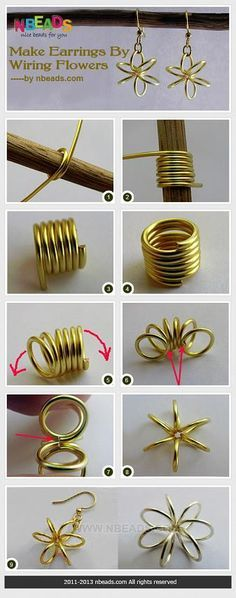 Make Earrings By Wiring Flowers – Nbeads