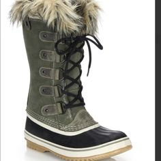 """NEW Sorel SOLD Joan Arc Faux Fur- Suede & Leather SOLD more on site, clothes shoes, coming up daily:) New SOREL $60 FIRM Price. I just got from  Saks for  retail $170+ tax. (Gift) Less than 3 wks  Rugged waterproof boot with glam faux fur trim. APPOX ONLY Shaft 11.5"""" Leg circumference, 15"""" Suede and rubber upper. Super price. These were gift, I tried them on and they run big to me – these are a size 8 and I'm normally in 8 1/2 . ♥️ I follow Posh Rules♥️Trying my best for P.M career NEED…"""