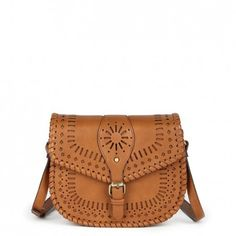 Cognac lasercut crossbody saddle bag