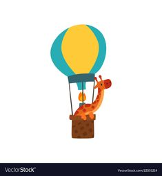 Ballon Illustration, Hot Air Balloon, Craft Work, Tweety, Giraffe, Mosaic, Balloons, Cute Animals, Dogs