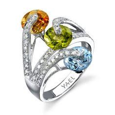 YAEL Designs - Blue Topaz, Citrine , Peridot and Diamond Ring