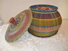 Vintage Woven Basket Electrical Wire Vietnam by WintervilleWonders