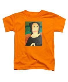 Patrick Francis Orange Designer Toddler T-Shirt featuring the painting Mona Lisa 2014 - After Leonardo Da Vinci by Patrick Francis