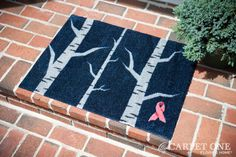 Winter Birch | Pink Ribbon Welcome Mats