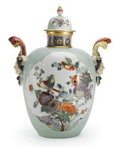 A MEISSEN CELADON-GROUND VASE AND COVER<br>CIRCA1730 | lot | Sotheby's