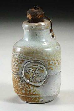 woodfired saltglazed bottle with   stopper, 13 cm., Chester Nealie   Gulgong, Australia