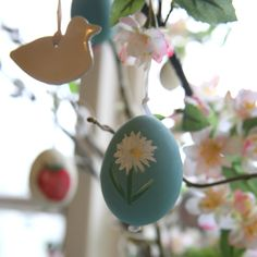 Step 7 - This is the finished egg decoration hanging on my Spring tree.