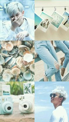 Namjoon~ beach~ seashore~ shells~ blue~ sand brown~