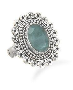 Oval Rough-Cut Emerald Ring
