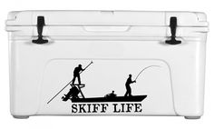 Poling Skiff Fishing Boat Decal / Vinyl Sticker for Auto, Boats & Coolers