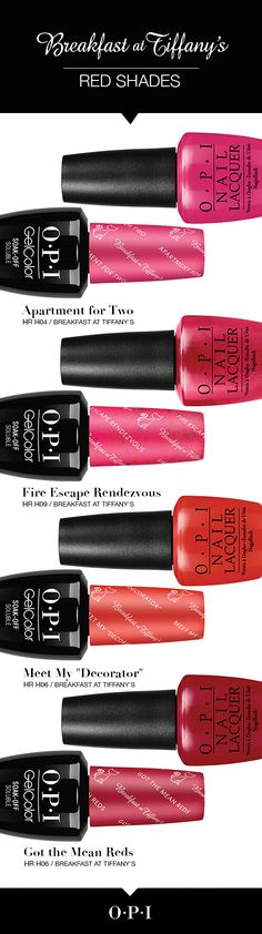 Meet the red shades from the new OPI Breakfast at Tiffany's collection. Inspired by the iconic film, Breakfast at Tiffany's, let your nails dazzle this holiday season with the exciting and bold shades from #OPIBreakfastAtTiffanys. Each nail lacquer shade is perfectly paired in OPI GelColor. Your holiday outfit isn't complete without a pop of red!