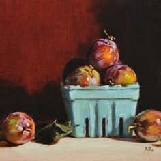 Oil Painting Gallery – Begoña Morton Oil Painting Gallery, Market Baskets, Fruit Art, Shopping Carts