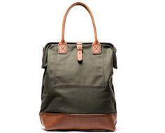 Handmade Canvas & Leather Carryall Bag (Olive)