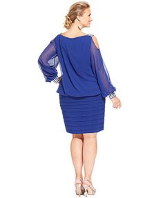 Betsy & Adam Plus Size Cold-Shoulder Embellished Blouson Dress | macys.com
