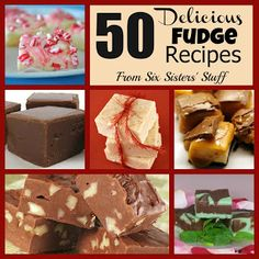 The holy grail of fudge recipes. Six Sisters' Stuff: 50 Delicious Fudge Recipes Delicious Fudge Recipe, Fudge Recipes, Candy Recipes, Sweet Recipes, Holiday Recipes, Delicious Desserts, Dessert Recipes, Yummy Food, Christmas Recipes