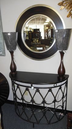 Iron and black half round console table with round mirror - just in!  www.interiorsbyconsign.net