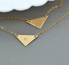 Triangle Necklace, Geometric Necklace, Minimal Jewelry, Engraved Necklace Gold, Personalized Jewelry by malizbijoux. Explore more products on http://malizbijoux.etsy.com