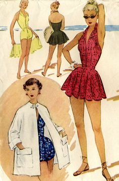 Vintage 50s McCalls 8870 Misses Pinup Halter Bathing Suit or Playsuit and Beach Coat Sewing Pattern Size 16 Bust 34