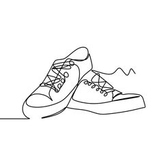 One Line Drawing Of A Shoes Vector Illustration Single Line Drawing, Continuous Line Drawing, Abstract Drawings, Easy Drawings, Illustration Software, Library Logo, Guitar Drawing, Object Drawing, Drawing Projects