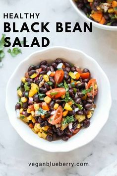 This fabulous Southwest style black bean salad is quick to put together and is a favorite at potlucks, picnics, and in your lunch! Drizzle and toss with a simple homemade lime and olive oil dressing and you're set for a delicious and healthy experience! Healthy Salad Recipes, Whole Food Recipes, Vegetarian Recipes, Vegetarian Salad, Mexican Recipes, Veggie Recipes, Yummy Recipes, Vegan Soups, Vegan Food