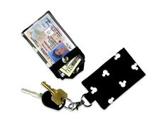 Disney Mickey Mouse Ears Mini Wallet Card Holder Keychain
