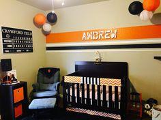 SF Giants themed nursery. Baseball baby room. Orange and Black nursery.