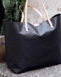 Handmade vintage leather black normal tote bag shoulder bag handbag for women