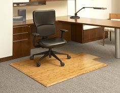 Superbe Bamboo Office Chair Mat And Floor Protector