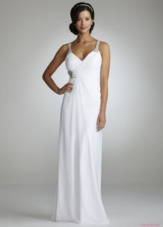 Elegant V-neck Beaded Spagheti Straps Column Ruched White Long Chiffon Wedding Dresses WD-2224