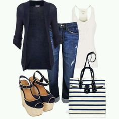 Love the blazer and top, worn with about anything.  The shoes and purse look great, too