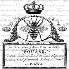 Queen Bee Bees French Handwriting Word Writing Crown by Graphique Vintage Labels, Vintage Ephemera, Vintage Paper, French Handwriting, Image Deco, Etiquette Vintage, Foto Transfer, Shabby, Images Vintage