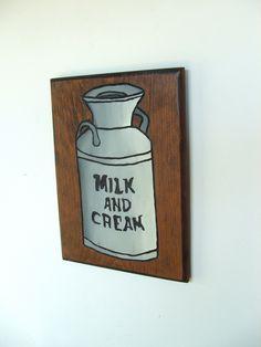 Vintage Handmade Wood Wall Hanging Milk and Cream by lookonmytreasures on Etsy