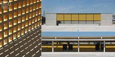 Celosías cerámicas y azulejos 15x15. En este caso la utilización del material cerámico se centra en las fachadas exteriores que rodean el colegio, una serie de paredes divisorias exteriores y los distribuidores interiores.