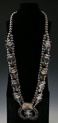 Squash Blossom Necklaces - Zuni Multi-Stone Inlay Thunderbird Squash Blossom Necklace