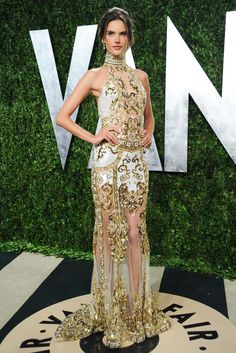 Alessandra Ambrosio in Zuhair Murad Couture at the Vanity Fair Oscar party