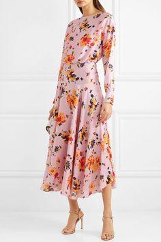 f897c8a68be1a Galvan   Majorelle gathered floral-print plissé-satin midi dress    NET-A-PORTER.COM