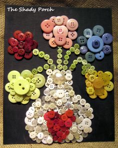 Arty Vase of Button Flowers - fun, simple crafty project with buttons!  #buttons #flowers #art