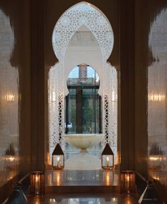 from the Luxury Spa Hotel Marrakech - Royal Mansour - Morocco. Moroccan Design, Moroccan Decor, Moroccan Style, Design Hotel, Spa Design, Marrakech Morocco, Marrakesh, Spas, Islamic Architecture
