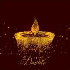Creative diwali diya made with golden particles. Vector , Creative diwali diya made with golden particles.