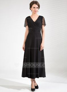 A-Line/Princess V-neck Tea-Length Tulle Jersey Mother of the Bride Dress With Ruffle Beading (008039105)