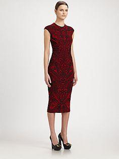 Alexander McQueen Lace Jacquard Knit Dress