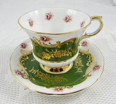 "Paragon Tea Cup and Saucer ""Pembroke"" Green, Vintage Bone China"