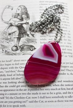 Stunning Pink Agate Geode Slice Necklace by trinketsofthemoon