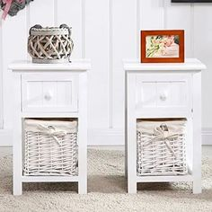 Furnitures : Uenjoy Pair Of Retro Chic Nightstand End Side Bedside Table With Wicker Storage Wood White The Unique Wicker Side Table Faux. With Glass Top. Furniture, Shabby Chic Table, Wood Nightstand, Home Decor, End Tables With Drawers, Wooden Bedside Cabinets, Wicker Bedroom, Bedroom Vintage, Wicker Shelf