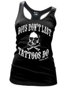Cartel Ink BOYS DONT LAST TATTOOS DO Tattoo racerback tank top womens #cartelink #Juniordeepscoopneckracerbacktank #Casual