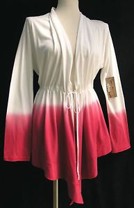 d87458d66a Details about YOGA Cardigan Coverup Top by NEW BLANCE Cotton OMBRE white  Raspberry NWT L