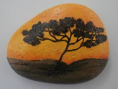 Painted rock Africa'  paperweight  decoration