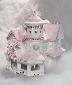 Would be pretty as a night light in the bedroom. My shabby chic style lighted Christmas village houses Shabby Chic Christmas, Victorian Christmas, Pink Christmas, All Things Christmas, Vintage Christmas, Christmas Crafts, Christmas Decorations, Christmas Tree, Victorian House